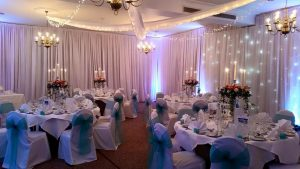 Set up for a Wedding Reception at Stower Grange.
